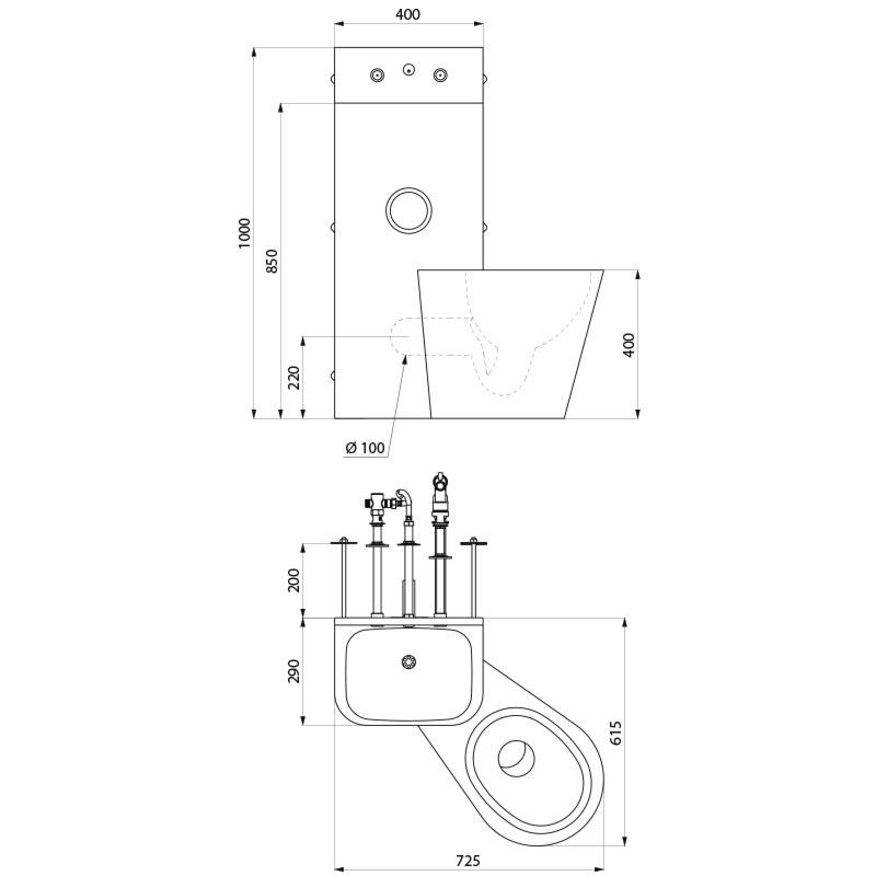 Dikte Afvoer Wc.Rvs Combi Kompact Tc Wastafel Staand Toilet Voor